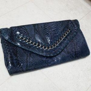 Blue Faux Croc Large Envelope Clutch NICOLE MILLER